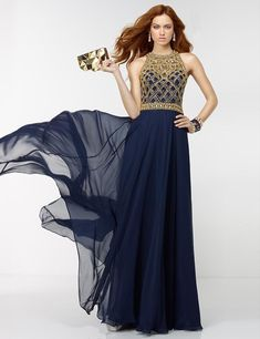 2016 New Arrival Long A-line Navy Blue Chiffon Evening Dress Gold Beads Top Sexy O-Neck Sleeveless Cheap Prom Party Gowns R05245 //Price: $US $72.36 & FREE Shipping // #clothing