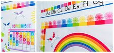 Hello Sunshine - SchoolgirlStyle www. Teacher Supply Store, Teacher Supplies, Alphabet Line, Alphabet Cards, Word Wall Letters, Letter Wall, Rainbow Palette, Rainbow Colors, Rainbow Theme