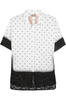 No. 21 Polka-dot cotton and lace shirt | NET-A-PORTER