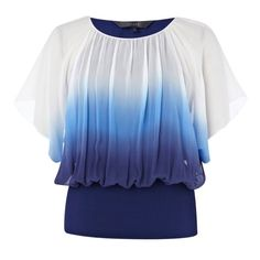 Coast Calla Dip Dye Silk Georgette Top, Blue, 16 (255 RON) ❤ liked on Polyvore featuring tops, blouses, shirts, t-shirts, women's tops, shirt blouse, dip dye top, dip dyed shirt, coast tops and blue top