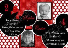 Red and White Polka Dots Twin Minnie Mickey Mouse Digital Birthday Photo Invitation. $15.00, via Etsy.