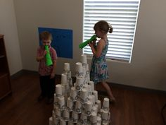 Joshua and the battle of Jericho. We used about 200 paper cups ($3.00 per package of 50) to build Jericho. The kids marched around, then blew their trumpets, cried aloud and then knocked down the tower. Afterwards they helped rebuild it bigger and better than this pic and they went through the steps themselves and afterwards answered questions about the story.