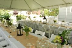 Long tables that you can rent for your special event.   A way you can decorate your table setting using our 4', 6' or 8' Long Tables. www.PreferredPartyPlace.com