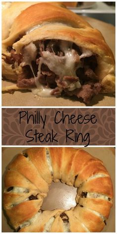 Philly Cheese Steak Ring – Sweeter With Sugar Easy Steak Recipes, Cheesy Recipes, Easy Dinner Recipes, Appetizer Recipes, Easy Meals, Cooking Recipes, Beef Recipes, Burger Recipes, Dinner Ideas