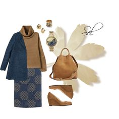 """denim & camel"" by selenitabr on Polyvore"
