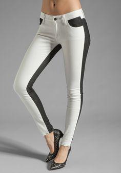 Koral Color Block Skinny jean in White/Black