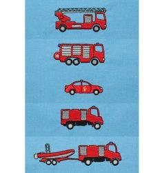 Feuerwehrauto Stickdesign auf www.gabrielles-embroidery.com