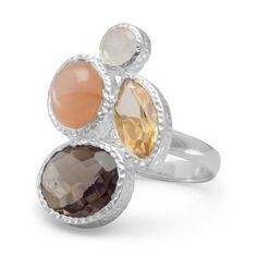Moonstone, Citrine and Smoky Quartz Ring