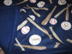 Base ball themed lap throw on blue backing by JandJblankiesandETC on Etsy