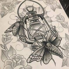 Black-and-white deathhead moths couple and lantern tattoo design Black Tattoos, Body Art Tattoos, Tattoo Drawings, Sleeve Tattoos, Ems Tattoos, Tatoos, Traditional Tattoo Black And White, Neo Traditional Tattoo, Neo Traditional Roses