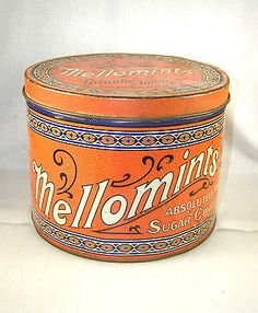 Vintage-Large-5-Lb-Mellomints-Candy-Tin-Lithograph-Container