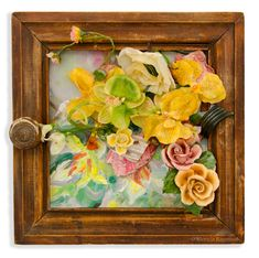 Frame Of Mind, Find Objects, Silk Flowers, Polymer Clay, Mixed Media, Floral Wreath, Vibrant, Collage, Victoria