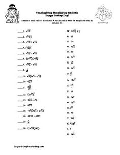Printables Simplifying Radicals Worksheet 1 simplifying radicals worksheet 1 answers syndeomedia