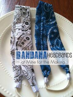 Bandana Headbands {tutorial} - Mine for the Making