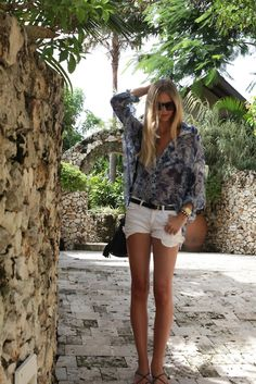 Love this beachy look - sheer button down top with white shorts