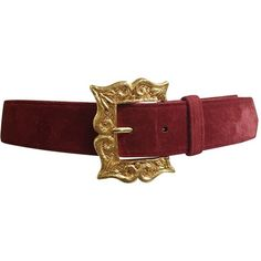 Preowned Christian Lacroix 1980s Suede Belt Size 4. (170 CAD) ❤ liked on Polyvore featuring accessories, belts, red, brown, christian lacroix, brown buckle belt, wide belt, wide buckle belt and wide red belt