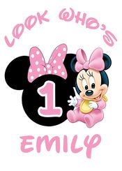Baby Minnie 1st Birthday Iron On Transfer Decal