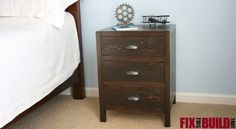 Build this DIY 3 Drawer Nightstand using FREE downloadable plans. This distressed DIY Nightstand can be made using common wood and easy build techniques.