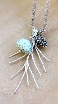 Woodland Pinecone Necklace Twig Jewelry Turquoise Stone Branch