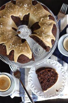 Salted Caramel Chocolate Espresso Bundt Cake