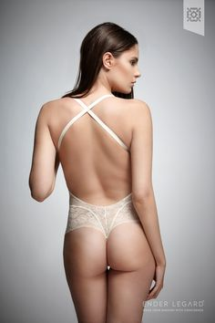 Ender Legard HOLLY Backless bodysuit. Crossed back view.