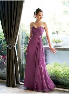 Charming A-Line Chiffon Sweetheart Sleeveless Floor Length Bridesmaid Dress BM-0166