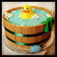RUBBER DUCKY CAKE....for a BABY SHOWER! This is so adorable & anyone can make this...so easy! Featured on our Best Cake Ideas!  http://kitchenfunwithmy3sons.com/2016/04/awesome-cake-ideas.html/