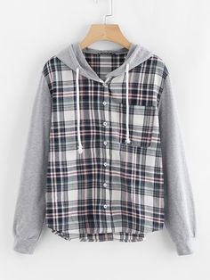 Romwe Check Blouse With Jersey Hood And SleeveL Hooded Flannel, Flannel Jacket, Stylish Hoodies, Cute Casual Outfits, Hooded Sweatshirts, Fashion Outfits, Fast Fashion, Clothes, Sweatshirts