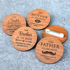 Our professionally designed, engraved and cut wooden bridal party badges make an amazing keepsake for an engagement party, bridal shower or wedding. Wedding Badges, Wedding Pins, Wedding Trends, Wedding Ideas, Princess Crafts, Wedding Stage Decorations, Wedding Photography Styles, 3d Laser, Wood Invitation