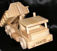 Nákladní auto s výklopným kontejnerem - Dřevěné hračky, Letadla, Autíčka, Tanky, Traktory
