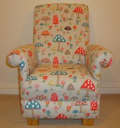 Cath Kidston Mushroom Fabric Child's Chair Nursery Toadstools Armchair Bedroom