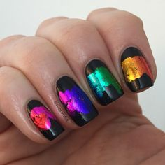 Rainbow Gradient Using Nail Foil - Redux - runrunlolo