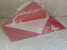 Double-Flap Envelope Card Fold using Stampin' Up! Bloomin' Love, First Sight, Sweetheart Punch, Blushing Bride Glimmer Paper. Youtube video included. Debbie Henderson, Debbie's Designs.