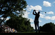 Henrik Stenson, of Sweden, watches his tee shot on the eighth hole during the third round of the PGA Championship. (Charlie Riedel/AP)