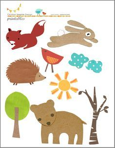 FREE printable woodland animals: Children Inspire Design's free downloads- perfect for kid's collage art, mobiles or garland DIY's!
