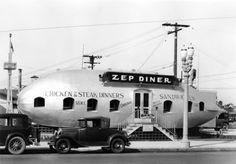 75 years ago, May today marks the anniversary of the Hindenburg disaster and an end of an era for the giant airship but the Zep Diner in Los Angeles was the place to go. Old Photos, Vintage Photos, Vintage Cameras, Vintage Photographs, California History, Hollywood California, Southern California, Wilmington California, California Usa