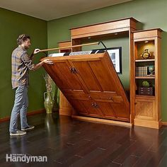 A Murphy bed can be super simple: Some are just an upright box that contains a folddown bed. But this is a deluxe version. Get the full project instructions