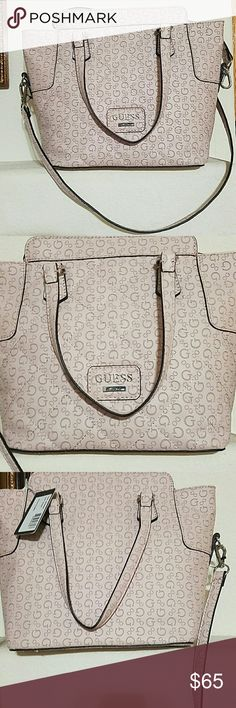 Guess Satchel Beautiful brand new with tag Guess Satchel. Leather. Blush color. Interior features 1 large and 3 small slip pockets. Silver tone hardware. Magnetic snap closure. No stains or damages. Approx measurements provided. Guess Bags