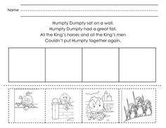 Sequence the Humpty Dumpty nursery rhyme by gluing pictures in order.