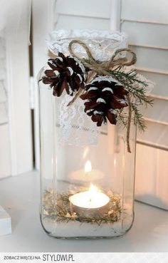 Christmas candles. I would use burlap instead of lace.