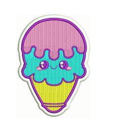 4 KAWAII bubblegum ice cream cone Embroidered by KILLERCUTECOUTURE