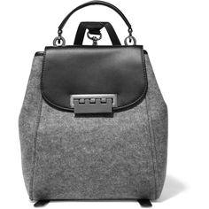 ZAC Zac Posen Eartha Leather-trimmed felt backpack (1,795 EGP) ❤ liked on Polyvore featuring bags, backpacks, сумки, grey, locking backpack, backpacks bags, top handle bag, felt bag and grey backpack