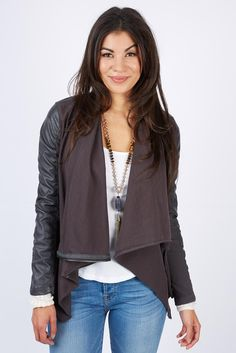LOVE this so much!!  Please send it to me!! Private Practice Drape Front Jacket