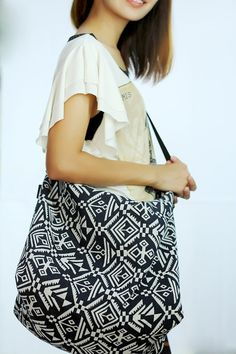 Black Abstract Tribal Indie marine backpack / nautical bag with ...