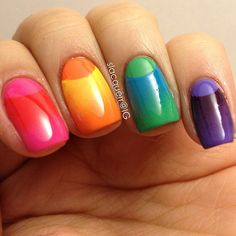 80 Best Nail Art Design Trends And Manicure Ideas 2017 - Gravetics Rainbow Nail Art, Rainbow Colors, Moon Nails, Spring Nail Art, Gradient Nails, Gradient Color, Best Nail Art Designs, Get Nails, Cool Nail Art