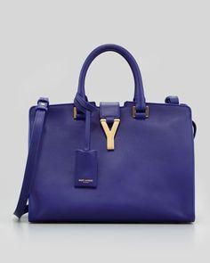 Fall Trends*                                                             Purple Reigns~Y-Ligne Cabas Mini Leather Bag, Blue by Saint Laurent at Neiman Marcus.