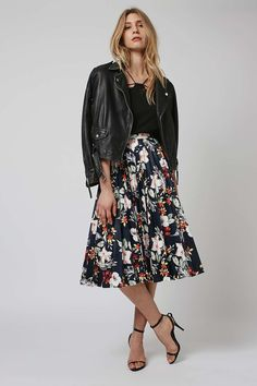 Floral Print PU Pleated Skirt - Topshop