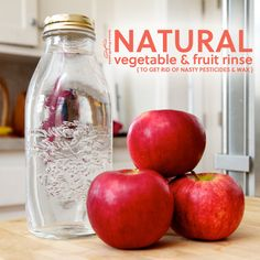 How to Make Natural Fruit and Vegetable Rinse- to get rid of nasty pesticides & the wax coating found on a lot of store-bought fruits.
