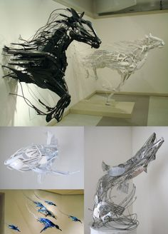 Installation made of disposable cutlery.