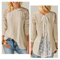 Tops & Shirts Ladies Womens Chiffon Long Sleeve Lace Floral T-Shirt Ladies Loose Tops Blouse Mode Outfits, Outfits 2016, Winter Outfits, Lace Tops, Casual Tops, Diy Clothes, Fall Clothes, Blouses For Women, Long Sleeve Shirts